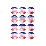 "My Voice. My Vote. Stickers feature 1.25 inch self adhesive round stickers printed with a stars & stripes design and the phrase ""My Voice. MY VOTE"" in pink lettering. 24 stickers. Perfect for polling places, rallies, and other political events."
