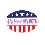 "My Voice. My Vote. Peel 'N Place is the perfect decal to show the world that you have exercised your right to vote, and your voice has been heard! Printed with the stars & stripes pattern in red, white, and blue and the phrase ""My Voice. MY VOTE"" in pink."