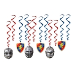 "Add a knightly theme to your medieval or fantasy themed party with these colorful Medieval Whirls.  These red and blue whirls add a royal look to your decorations, whether you're hanging them for a feast, a party or ""joust"" for fun!"