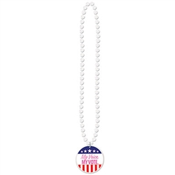 "The political race never ends, make sure you keep your friends, family, and community motivated with these ""My Voice. My Vote."" Beads with Medallion."