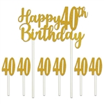 "Our Happy 40th Birthday cakes topper set will add that something extra to your guest of honor's cake!  ​Set includes one 6"" x 8.25"" Happy 40th Birthday topper and six 1"" x 3.5"" number 40's. Toppers are also great for memory and scrap books! ​"