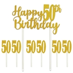 Say happy 50th Birthday in glittering gold!  Our Happy 50th Birthday cakes topper set will add that something extra to your guest of honor's cake!