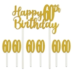 Say happy 60th Birthday in  glittering gold!, even if they're not in thier golden years!  Our Happy 60th Birthday cakes topper set will add that something extra to your guest of honor's cake!