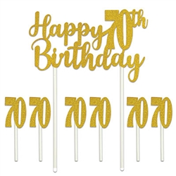 "Celebrate the golden years with  our Happy ""70th"" Birthday Cake Topper. Our Happy 70th Birthday cakes topper set will add that something extra to your guest of honor's cake!"