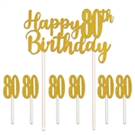 "Celebrate a milestone and say Happy 80th"" Birthday in style with our Happy 80th Birthday cakes topper! Set includes one 6"" x 8.25"" Happy 80th Birthday topper and six 1"" x 3.5"" number 80's. Toppers are also great for memory and scrap books!"