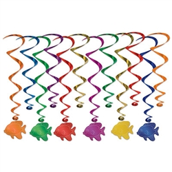 "There's nothing fishy here, except for these vibrantly colorful Fish Whirls!  Each package contain 12 fully assembled whirls - six 17.5 inch whirls and six 32"" long whirls with foil fish danglers."