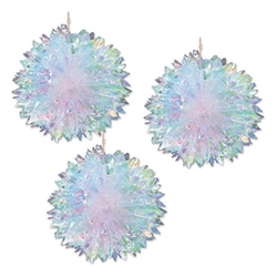 "These 16"" diameter iridescent fluff balls will add ad color, gleam and movement to your next party when you hang them.  Sold three per package, these classy hanging decorations are sure to become an instant classic."