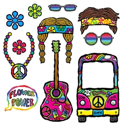 Make memories that will last with these great 60's Photo Fun Signs.  Your guests will have a blast form the past posing for pictures with these fun, colorful props.  Package includes 11 pieces, printed both sides in vibrant color on cardstock.