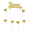"Celebrate a happy milestone with the guests of honor by adding this Gold Happy Anniversary Cake Topper.  Each package comes with one 6"" x 7.75"" topper and six 1.25"" hearts.  <br/>Food safe and a great way to show you care."