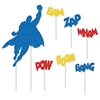 "Your birthday party will be up, up, and away with these colorful Hero Cake Topper decorations!  Each package includes seven pieces - one caped Hero topper measuring 7""x9.5"" and 6 word bursts measuring 2.25""x3.5""."