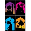 Add a taste of the mysterious East with the beautiful Arabian Nights Silhouettes.  Printed in full, vibrant color, the high quality silhouettes add an artistic touch to your party's decor.  These great in a family room, media room, bedroom or dorm!