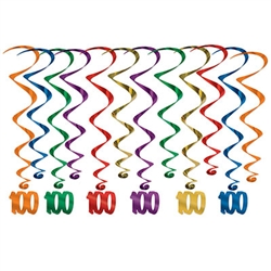 "Every decade deserves a celebration, but your 10th is extra special!  Make your 10th decade Instagram ready!  These multi colored whirls come 12 to a pack. There are six 17.5 inch whirls and six 32 inch whirls with ""100"" danglers attached."