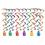 Make your Sweet 16 party Instagram ready with these fun, colorful 16 Birthday Whirl hanging decorations.  Each package contains six 17.5 inch long metallic whirls and six 31 inch long metallic whirls with a 5.5inch tall metallic 16 dangler.