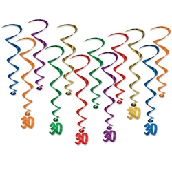 "Multi colored whirls come 12 to a pack. There are six 17.5 inch whirls and six 32 inch whirls with ""30"" danglers attached. Completely assembled and easy to hang with the attached hook!"
