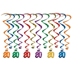 "Make your 8th decade Instagram ready!  These multi colored whirls come 12 to a pack. There are six 17.5 inch whirls and six 32 inch whirls with ""80"" danglers attached. 