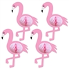 Who doesn't love a pink flamingo?  Your guest will love these Tissue Flamingos Hanging Decorations at your Lua, Jungle or Tropical themed party!  Each package includes 4 Pink flamingos with attached cord - no assembly necessary!