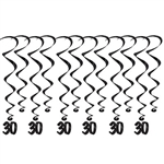 "Add a strikingly bold touch of class to your birthday celebration with these Black 30th Birthday Whirls.  Comes with 12 whirls: six  17.5"" long  basic whirls, six 32"" long whirls with 6.5"" tall black number 30 danglers.  Completely assembled!"