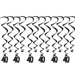 "Add a strikingly bold touch of class to your birthday celebration with these Black 60th Birthday Whirls. Each package comes with 12 whirls. Six are 17.5"" long basic whirls, six are 32"" long whirls with 6.5"" tall black number 40 danglers."