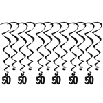 "50 Whirls - Add a strikingly bold touch of class to your birthday celebration with these Black 50th Birthday Whirls. Each package comes with 12 whirls. Six are 17.5"" long basic whirls, six are 32"" long whirls with 6.5"" tall black number danglers."