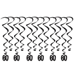 "Add a strikingly bold touch of class to your birthday celebration with these Black 60th Birthday Whirls. Each package comes with 12 whirls. Six are 17.5"" long basic whirls, six are 32"" long whirls with 6.5"" tall black number 60 danglers."