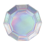 "Add sparkle and shine to your holiday or party table with our 7"" Iridescent Decagon Plates.