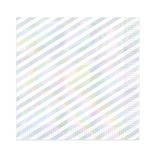"Setting an iridescent table for your party? These 9.88"" square, 2-ply beverage napkins  with iridescent stripes will add a finishing touch to your decor. Each pack contains 16 napkins."