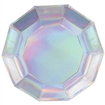 "Add sparkle and shine to your holiday or party table with our 9"" Iridescent Decagon Plates.  Sold eight plates per package."