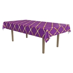 "Fitting table up to 54"" x 108"", this plastic tablecover looks great with a gold lattice printed on a lavender field."