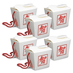Looking for a good looking gift or favor box for an Asian or Around The World themed party?  These Asian Favor Boxes are just what you need. Each pack contains six white favor boxes which have the symbol for Wisdom printed in red on front and back.