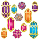 "These Foil Lantern & Mandala Cutouts are printed both sides on high quality cardstock.  They'll look great hanging on a wall, from the ceiling or used as a table border.  Package includes 11 pieces ranging in size from 6.75"" to 15"" tall. Easy to hang,"