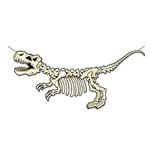 "No bones about it, this T-Rex Skeleton Streamer is going to be a huge hit at your Dinosaur themed party! The 5' long by 28.5"" tall streamer requires simple assemble and comes with 12' of cord to make hanging easy!"