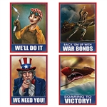 "Celebrate History and add a nostalgic touch with these classic World War II Poster Cutouts.  Each package contains four 11.5"" x 15"" full color posters printed one side on high quality cardstock.  Suitable for framing!"