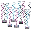 "Get your 80's retro theme party decorations just right with these fun, colorful Cassette Tape Whirls.  Each package includes six 17.5"" whirls and six 31"" long whirls with cassette danglers."
