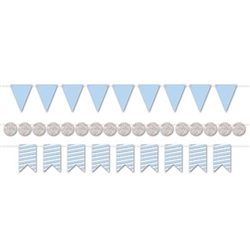 "With this classy Mini Streamer Kit in Blue and Silver you'll be able to create three 6' streamers.  An easy and stylish way to finish off your party decorations!  Each package comes with nine 6"" triangles, nine 5.5"" ribbon end & 17 2.25"" diameter circles."
