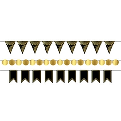 Looking for a stylish and fun accent for your party decorations?   This Black and Gold Foil Mini Streamer Kit may be just what you need.  Package includes triangle, round and ribbon-end shapes to make three 6ft streamers.