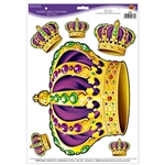 "Turn your party room into a palace and let everyone be a king for the night with these Mardi Gras Crowns Peel 'N Place.  Each sheet carries 6 peel N' place royal crowns.  Crowns range in size from 2.25"" x 2"" to 10.25"" x 12""."