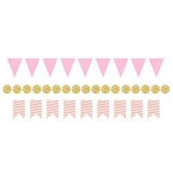 "With this classy Mini Streamer Kit in Pink & Gold you'll be able to create three 6' streamers.  An easy and stylish way to finish off your party decorations!  Each package comes with nine 6"" triangles, nine 5.5"" ribbon end and 17 2.25"" diameter circles."