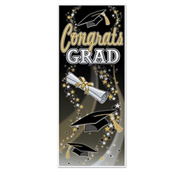 Show your pride and say Congratulations with this fun Congrats Grad door cover.  Measuring 30 inches wide by 6 feet long, this door cover will show everyone how proud you are of your students accomplishments.