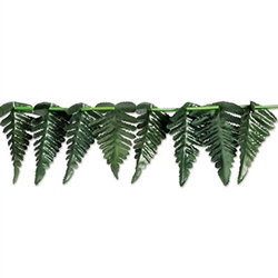 Add soft texture and color to your Luau or Jungle themed party with this 10 foot long Fern Leaf Garland.  Looks great on door and window frames, table edges, banisters, or draped from the ceiling.