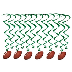 Score big when you include the Football Whirls at your next game-watch-party, sign-up event, awards dinner or football themed party!  Each package comes with 12 completely assembled and easy to hang whirls.