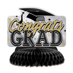 Celebrate your graduate, show your pride and create a classic focal point with this stylish Graduation Centerpiece.  Standing 8.75 inches tall it opens full round.  Sold one per package, reusable with care.