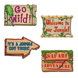 It's a Jungle out there, and your jungle themed party deserves the decorations to prove it!  These bright, colorful and fun signs are 18 inches wide by 12 inches tall.  They're printed on both sides.  Sold 4 per pkg.