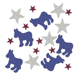 Support your candidate, your team and your country in style with this Democratic Deluxe Sparkle Confetti.  Each package has confetti ranging in size from 2 inches to .75 inches.  Great for adding sparkle and shine to table tops.