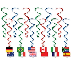 These International Flag Whirls are sure to add interest, color and movement to your decor.  Each package contains 12 pieces - six 17.5 inch whirls and six 31 inch whirls with flag danglers.