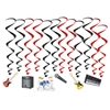 Get the party rocking and swaying with these fun, colorful and kinetic Band Whirls!  Each package come with 6 17.5 inch whirls in red and black and six 33.25 red and black whirls with attached danglers.  Easy to hang with attached hook, reusable with care