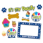 "Dog Birthday Party Kit - It's a dog's life when you have this fun and colorful Dog Birthday Party Kit!  10 piece kit includes: 1 - 4' streamer with cord, 1 - 13.5"" x 20"" photo frame, 1 - 8.5"" Centerpiece, 7 - 4.75"" to 9.5"" cutouts."