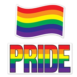 Make a big statement with these Jumbo Rainbow and Pride Cutout!  Whether you hang these from the ceiling, on a wall, or carry them in a parade; you'll be showing your pride and confidence in yourself!  2 cutouts per package.