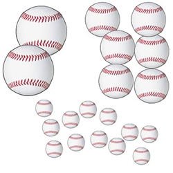 You'll have a ball - actually 20 of them with this set of  Baseball Cutouts!  Perfect your baseball themed watch party, sports banquet or team sign up event.  Each package includes 20 pieces ranging in size from 4 to 12 inches in diameter.