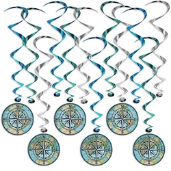 They'll know you mean when you include these colorful and kinetic Bon Voyage Whirls in your party decor.  Each package includes 12 whirls.  Six are 15 inches long and six are 28 inches long with attached danglers.