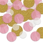 Want a different, softer look in confetti? This Dot Deluxe Sparkle Confetti -Pink & White is a great choice! Perfect for baby showers, gender reveals, 1st birthdays and more. Sold in 0.5 ounce packages. Also looks great in scrap books and art projects!